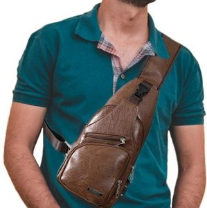 Hoadier Men's Sling Bag with USB charger